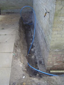 Steel reinforcing bars and new mains water pipe
